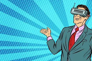 pop art businessman in VR glasses
