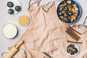 Baking ingredients and tools over