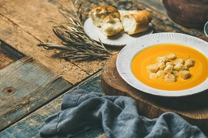 Warming pumpkin cream soup with