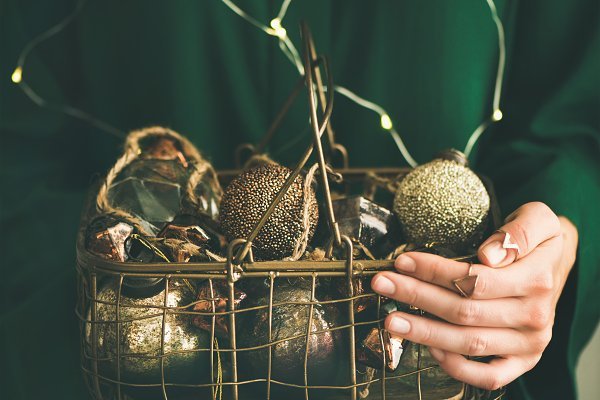 Wire basket full of Christmas or Ne…