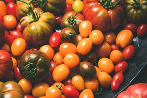 Fresh colorful ripe tomatoes