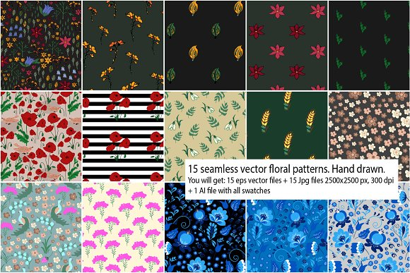 15 seamless floral vector patterns