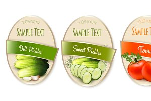 Labels with pickles and tomato