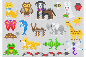 Mosaic animal vector animalistic