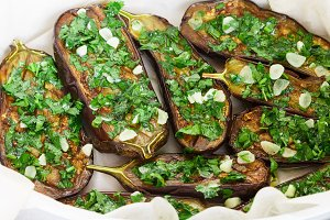 Eggplant with garlic and parsley