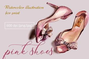 Pink shoes - watercolor prints