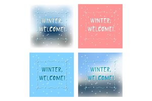 Set of four winter greetings card