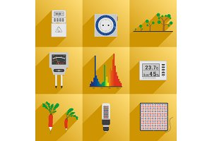 Set icon LED equipment phyto light