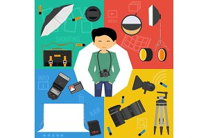 Vector set photographic equipment