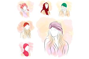 Set of six silhouette woman in