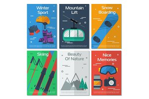 Six vertical banners mounting winter
