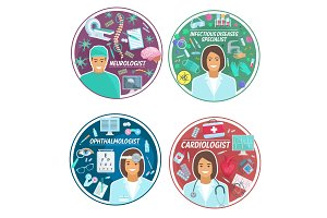 Medical clinic doctors vector icons