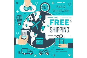 Free shipping delivery vector poster