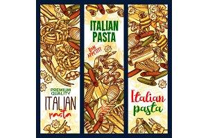 Vector Italian pasta sketch banners
