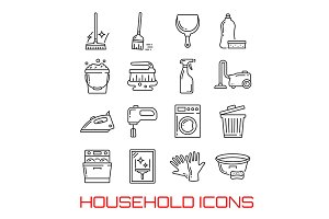Household icons vector thin line art