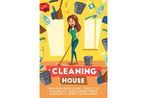 Cleaning house service vector poster