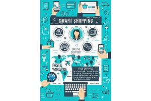 Online smart shopping vector poster