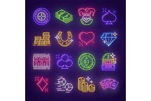 Neon signs casino, poker, gambling