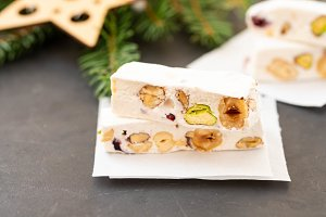 Turron or nougat sweets.Winter