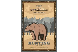 Hunting poster with wild bear