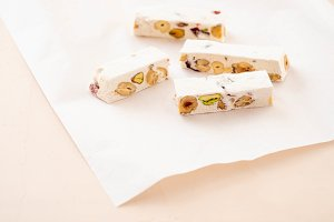 Piece of traditional nougat, on
