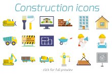 48 construction icons in flat style