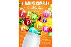 Vitamins complex and food