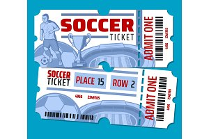 Vector football soccer tickets