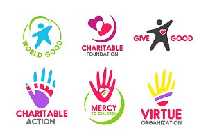 Charity foundation icons with people