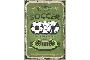 Football or soccer sport poster
