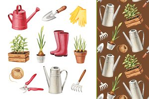 Illustrations of garden tools