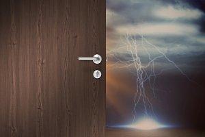 Composite image of brown door
