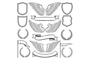 Heraldic wings, shields and ribbons