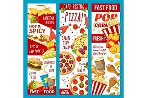 Fast food snacks banners
