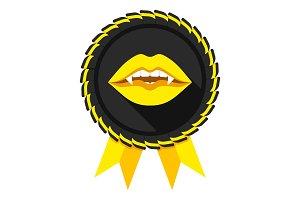 best vampire award badge yellow
