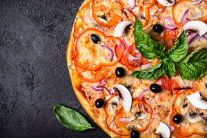 Vegetarian pizza with mushrooms and