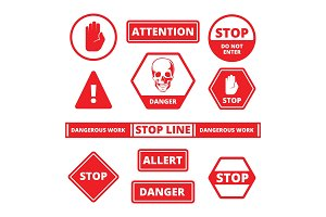 attention stop signs. danger alerts