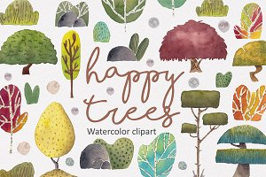 The Happy Trees (Watercolor Clipart)