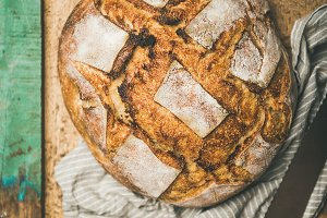 Flat-lay of sourdough wheat bread