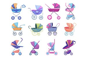 Stroller vector baby-stroller and