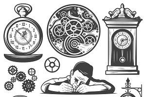 Vintage Clocks Repair Elements Set