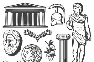 Vintage Ancient Greece Elements Set