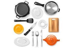 Pan vector kitchenware or cookware