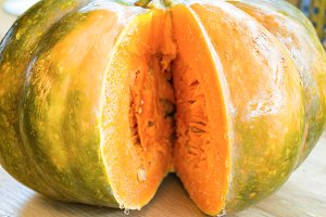 Sliced orange ripe pumpkin