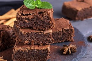 baked pieces of chocolate brownie