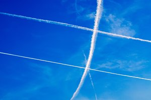The aircraft trails