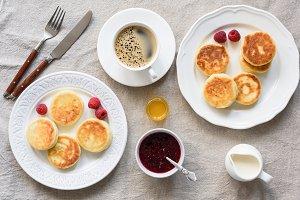 Breakfast table. Pancakes, Coffee