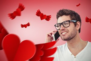 Image of handsome man using phone