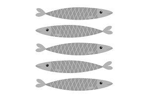 Sardine gray fish icon set. Pattern