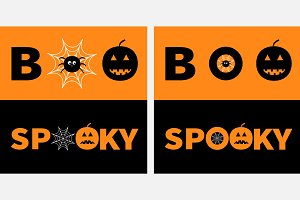 Word BOO SPOOKY text set.
